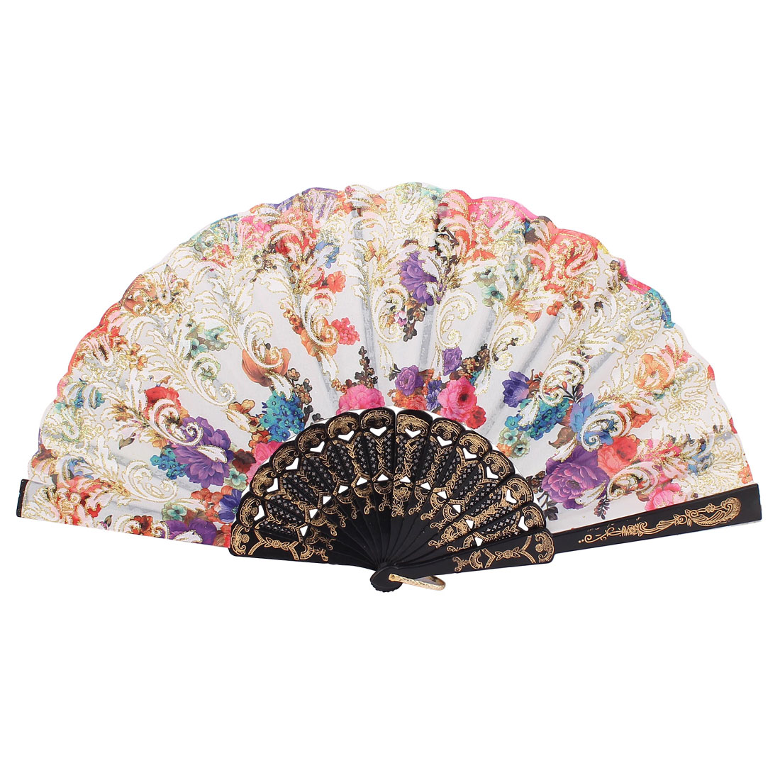 Black Frame Flowers Pattern Dancing Wedding Party Fabric Folding Hand Fan