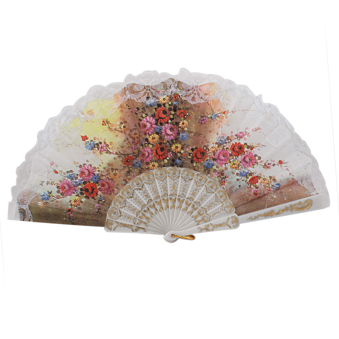 Glitter Powder Flowers Pattern Dancing Wedding Party Fabric Folding Hand Fan