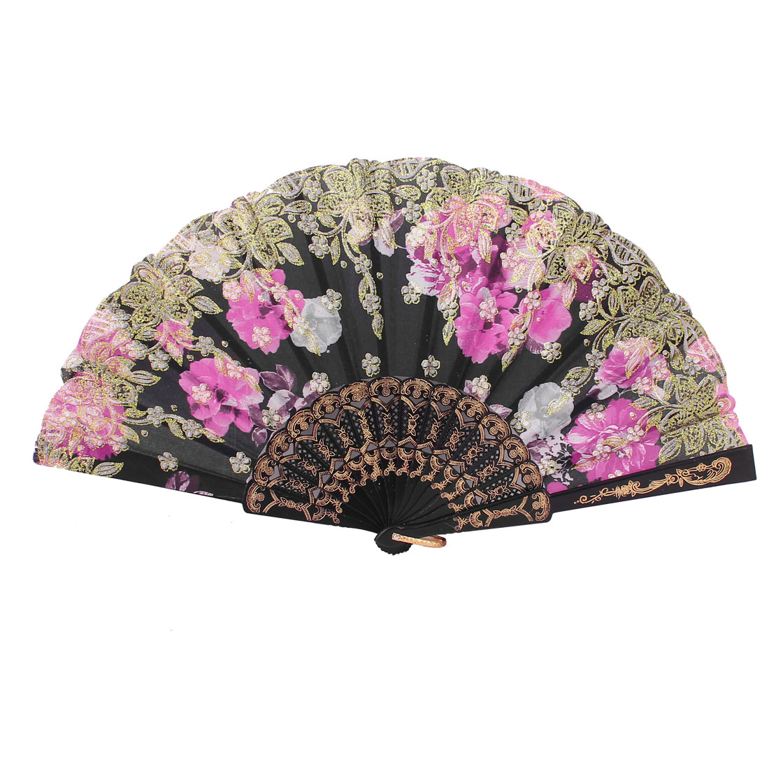 Black Frame Flowers Pattern Dancing Wedding Party Women Folding Hand Fan