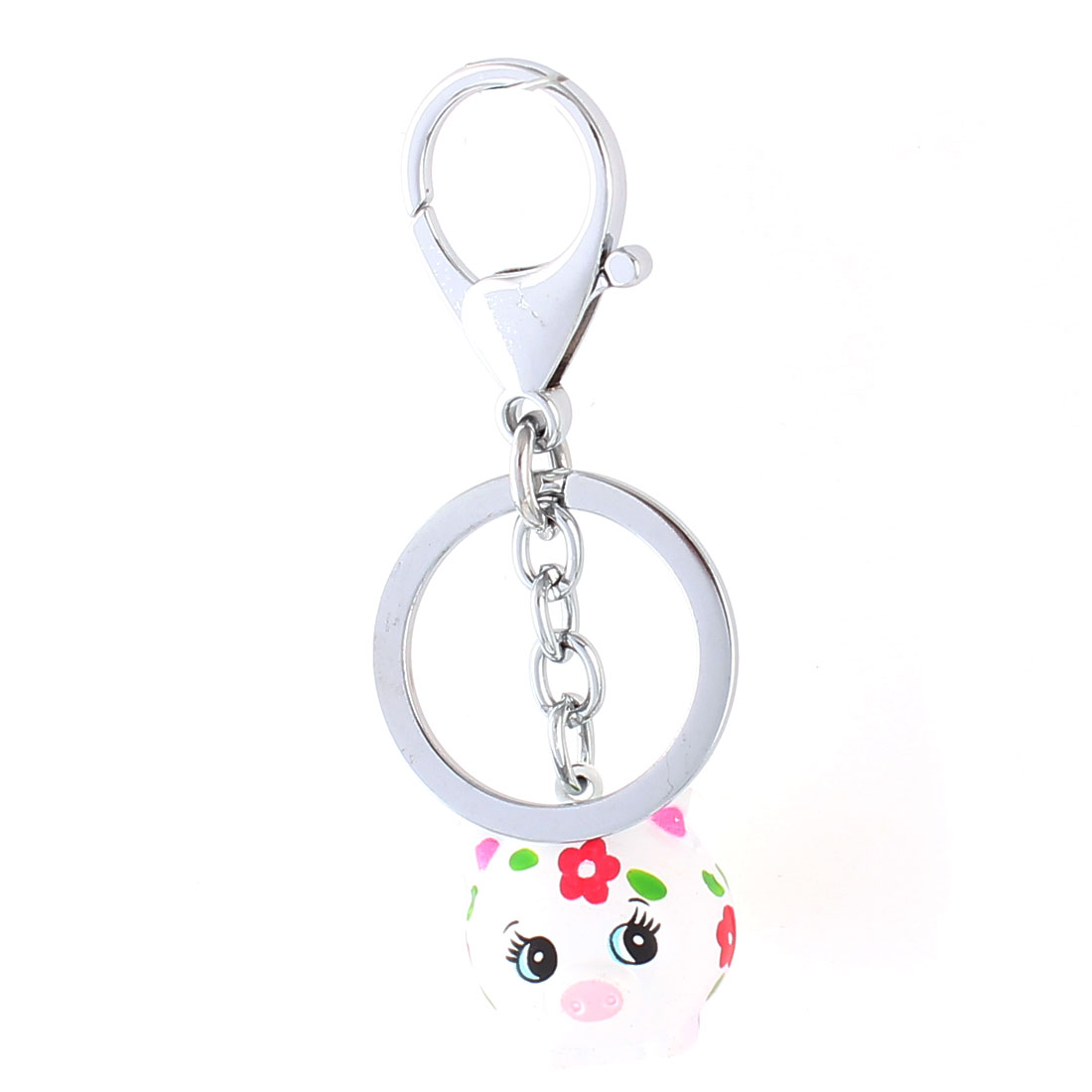 White Dangling Fat Pig Bells Decor Key Ring Keychain Keyring