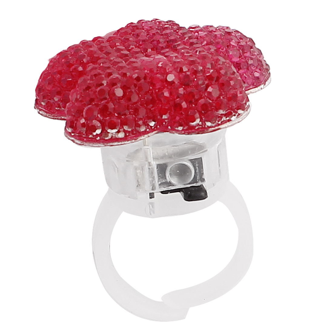 Lady Women Flower Shape LED Glowing Finger Ring Fuchsia US 6
