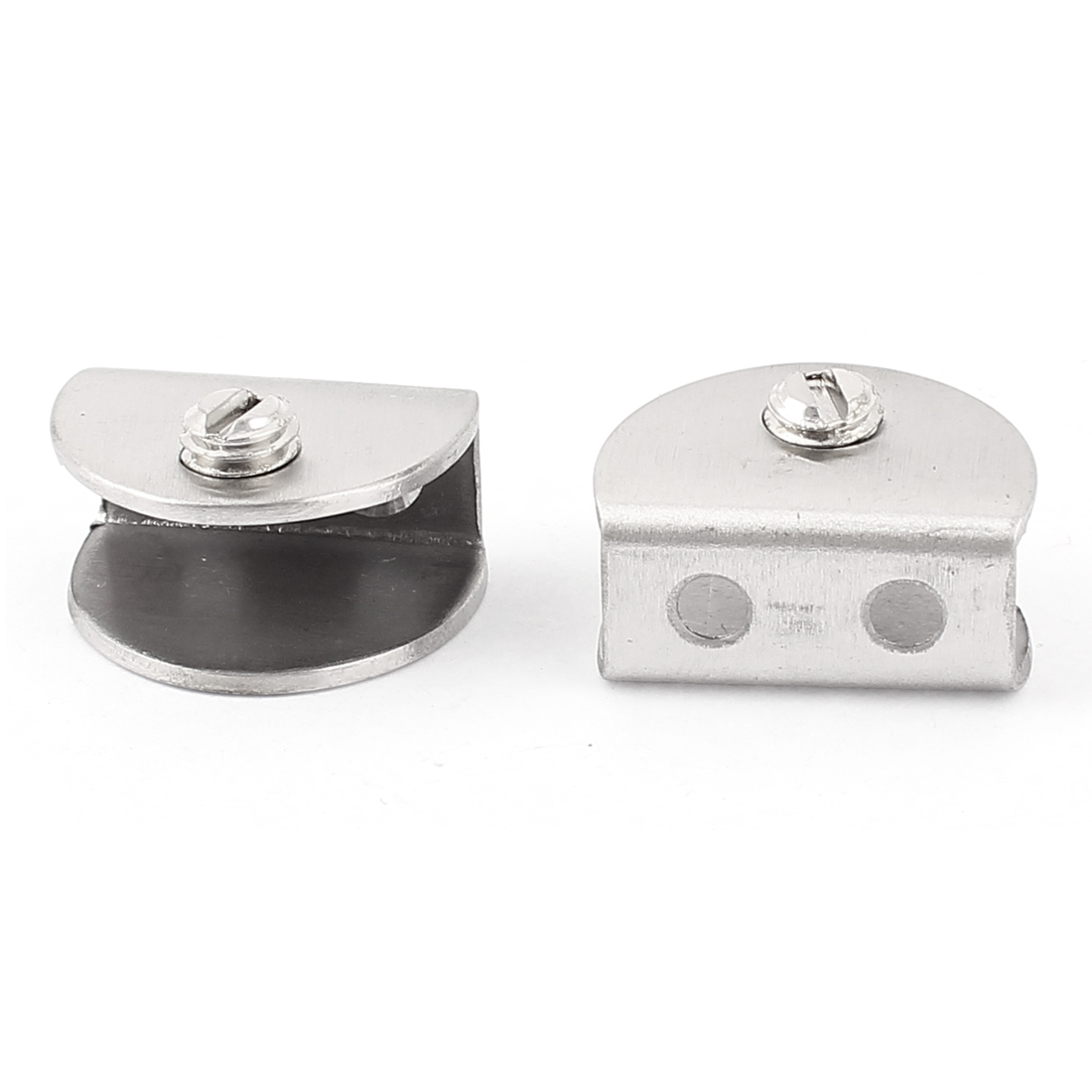 2Pcs Half Round Shaped Clip Clamp Holder Silver Tone for 10mm Thick Glass