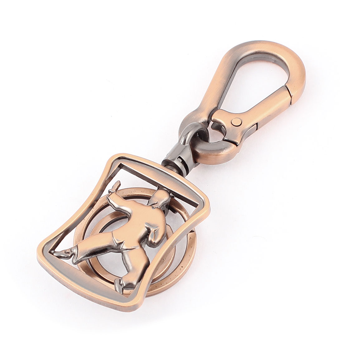 Kung Fu Character Lobster Clasp Keychain Keyring Brass Tone 11cm