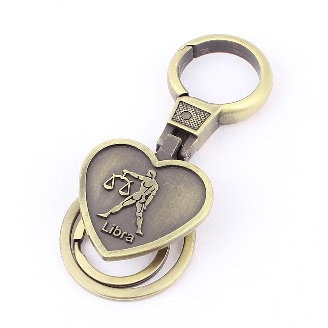 Libra Embossment Heart Shaped Pendant Keyring Keychain Bronze Tone