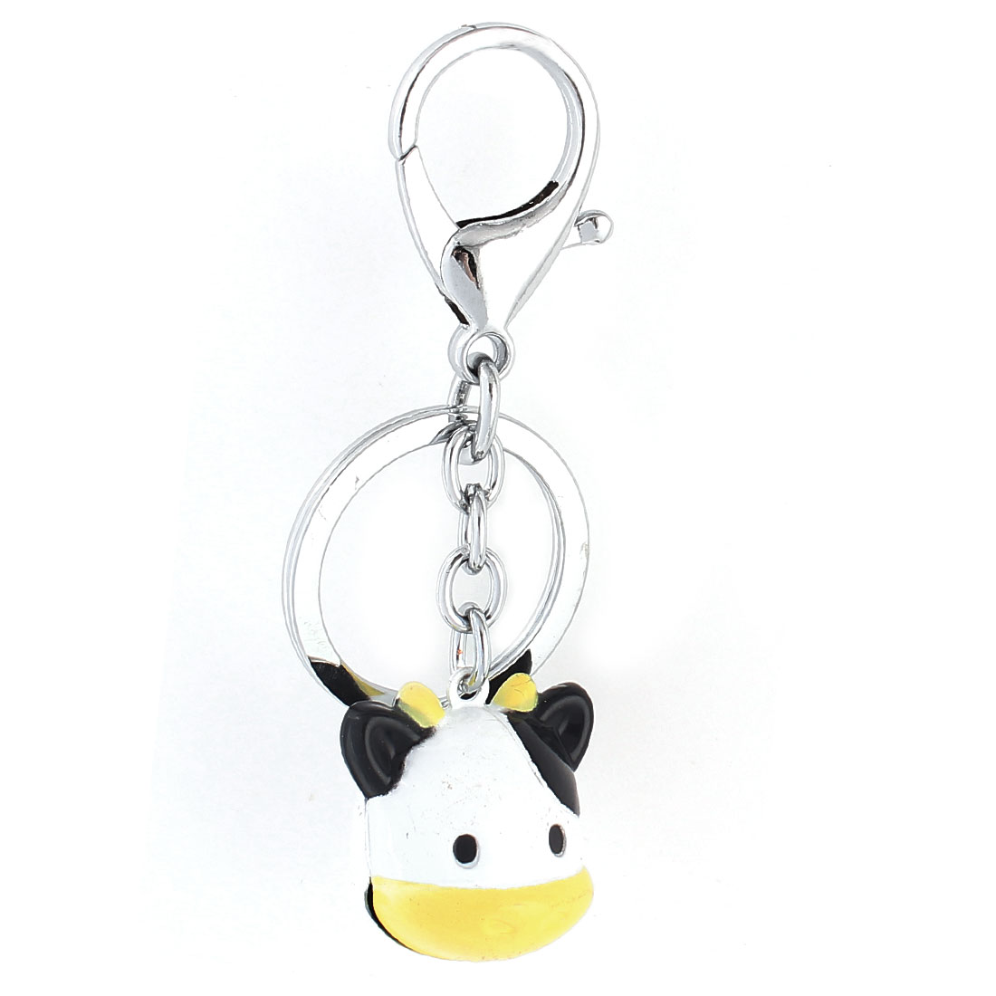 White Black Dangling Cow Head Bells Decor Key Ring Keychain Keyring
