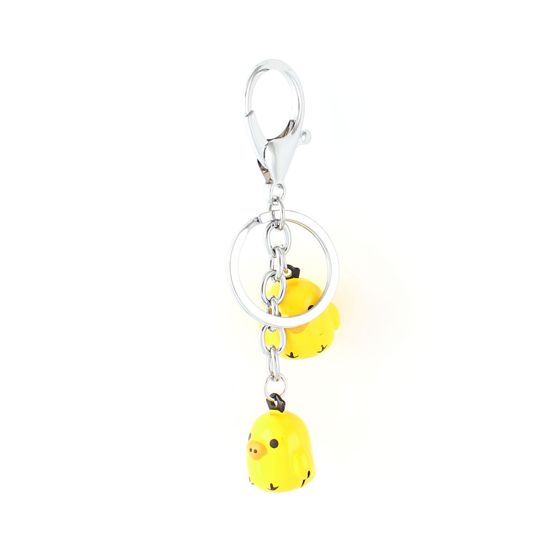 Yellow Dangling Poult Bells Decor Key Ring Keychain Keyring