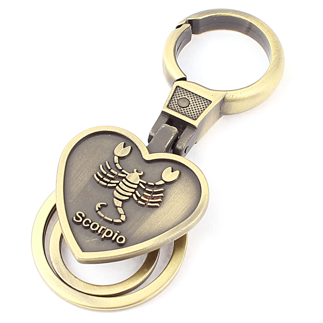 Scorpio Embossment Heart Shaped Pendant Keyring Keychain Key Holder Bronze Tone