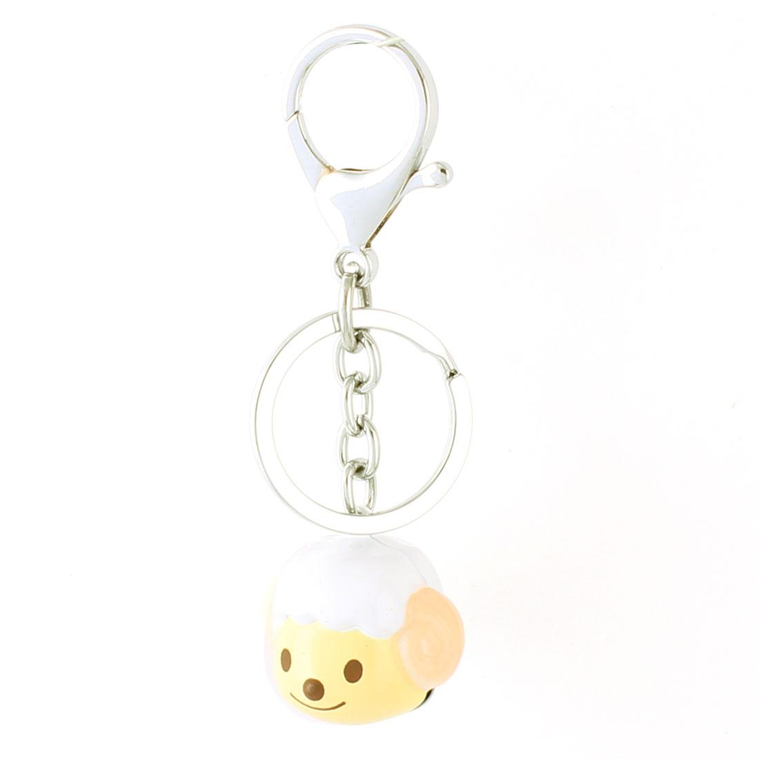 White Yellow Dangling Sheep Head Bells Decor Key Ring Keychain Keyring