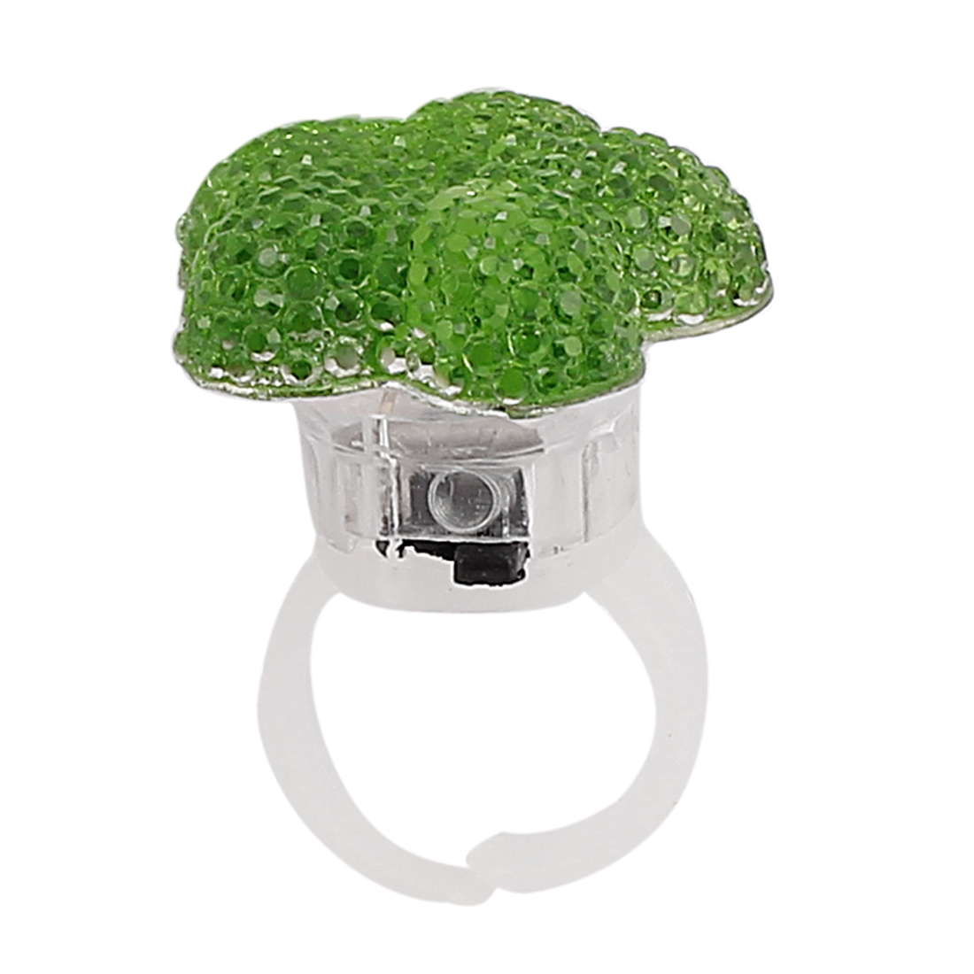 US 6 Flower Shape Lady Women LED Glowing Finger Ring Green