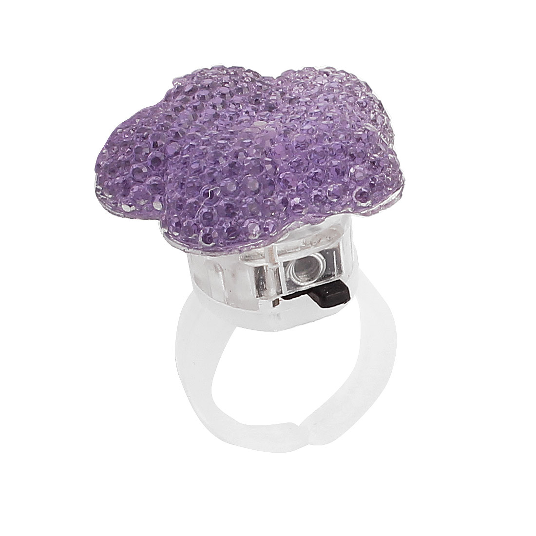 US 6 Flower Shape Lady Women LED Glowing Finger Ring Purple