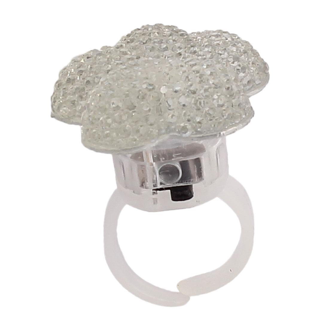 Lady Women Flower Shape LED Glowing Finger Ring Clear US 6