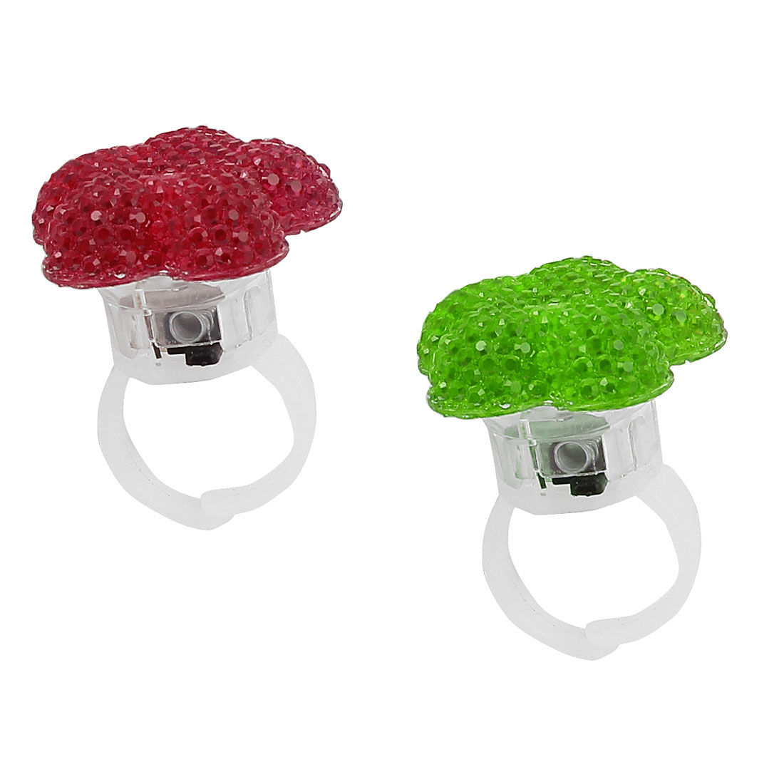 US 6 Flower Shape Lady Women LED Glowing Finger Ring Fuchsia Green 2Pcs
