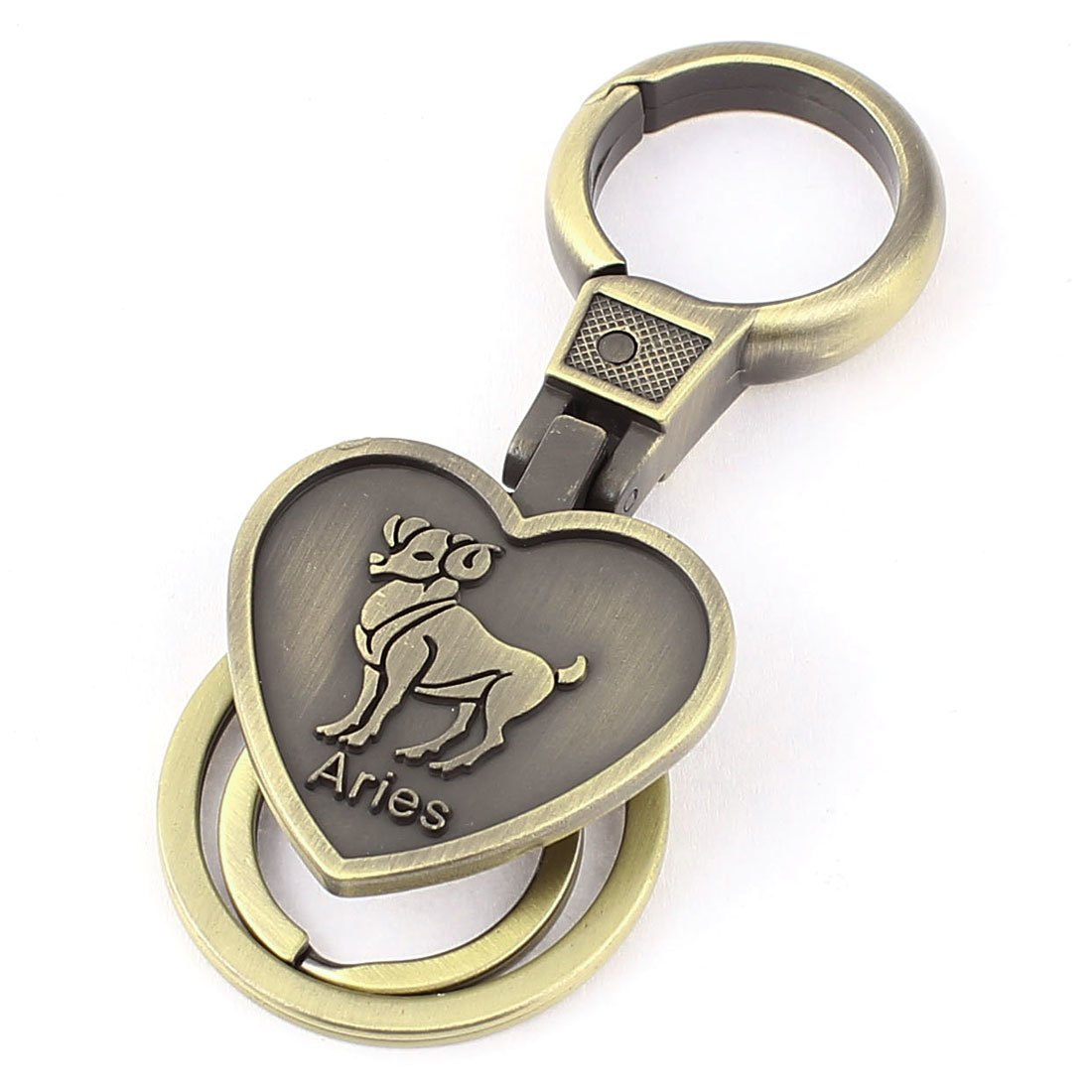 Aries Embossment Heart Shaped Pendant Keyring Keychain Bronze Tone
