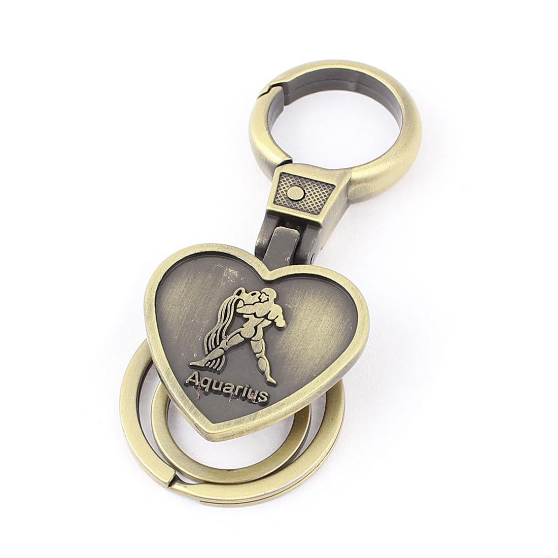 Aquarius Embossment Heart Shaped Pendant Keyring Keychain Bronze Tone