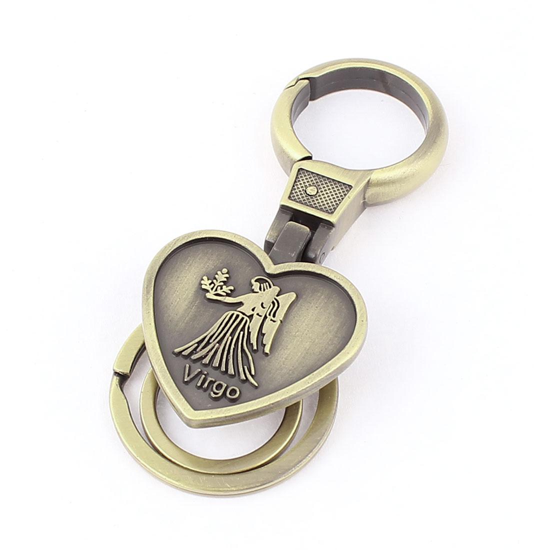 Virgo Embossment Heart Shaped Pendant Keyring Keychain Bronze Tone
