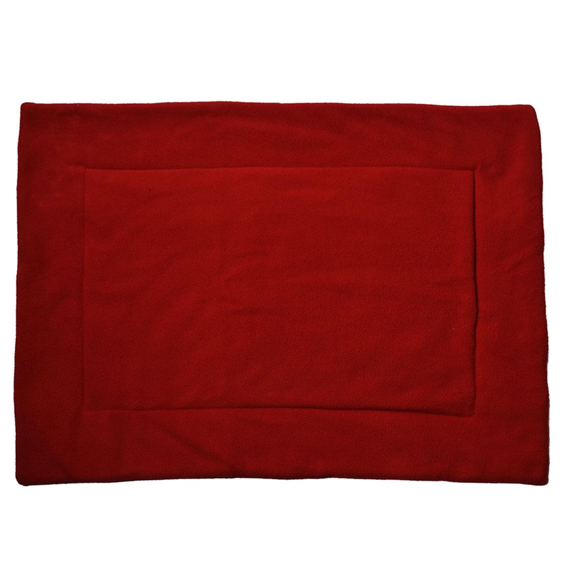 Pet Cat Dog Cotton Blend Rectangular Winter Warm Cushion Pad Mat 70cm x 56cm Red