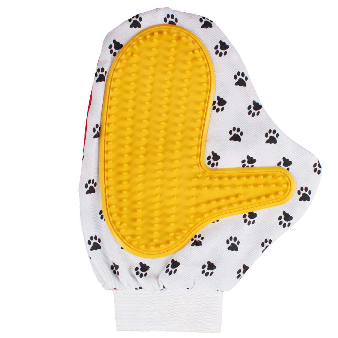 Pet Dog Paw Pattern Shower Grooming Bathing Gloves Massage Brush Red Yellow