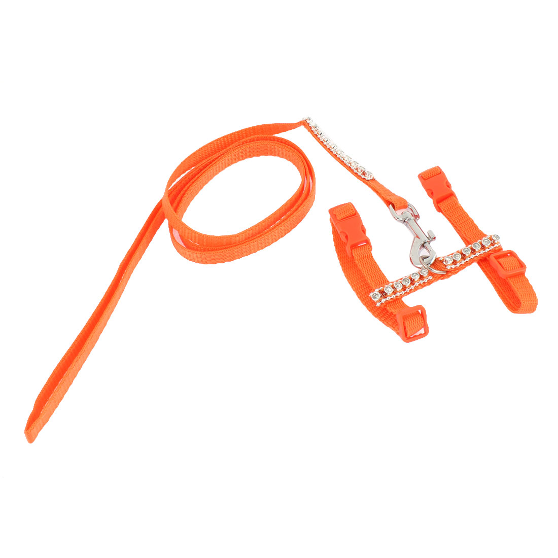 Pet Dog Puppy Cat Adjustable Nylon Training Harness Leash Traction Rope Orange