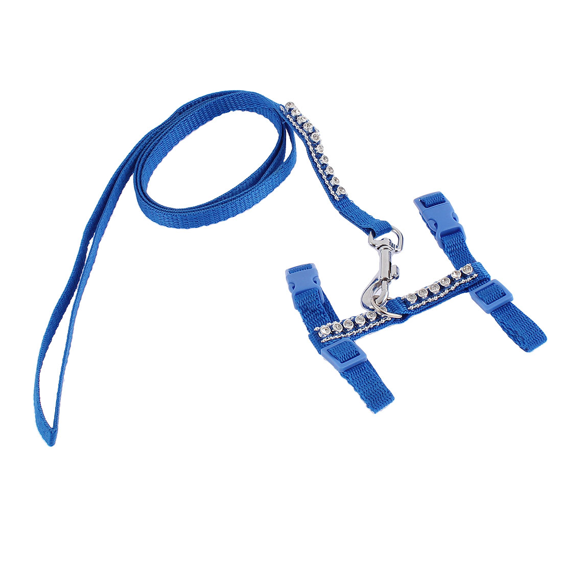 Pet Puppy Cat Adjustable Nylon Walking Training Harness Leash Traction Rope Blue