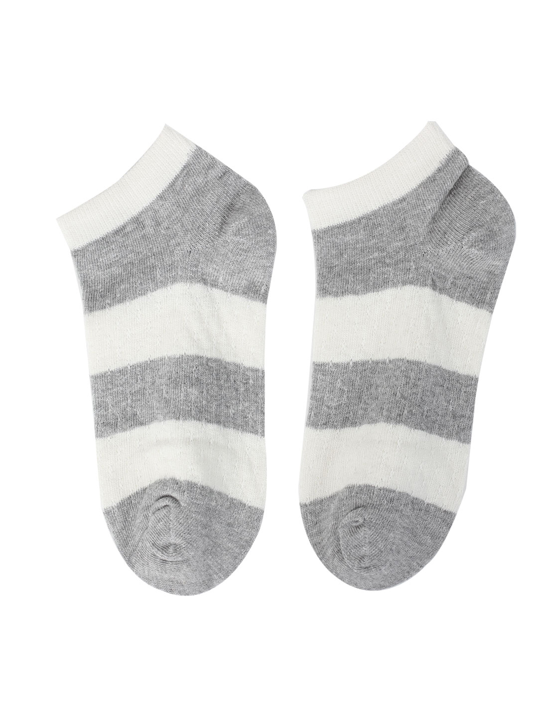 Women Knitted Stripes Pattern Elastic Cuff Short Low Cut Ankle Socks Gray Pair