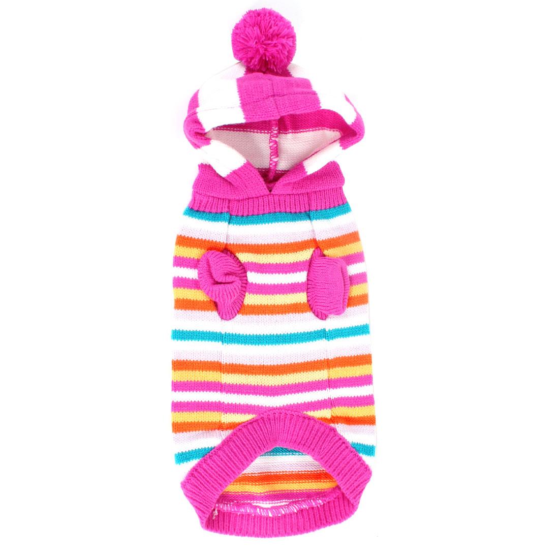 Pet Dog Stripe Pattern Hooded Warm Clothes Knitwear Sweater Multicolor Size XS