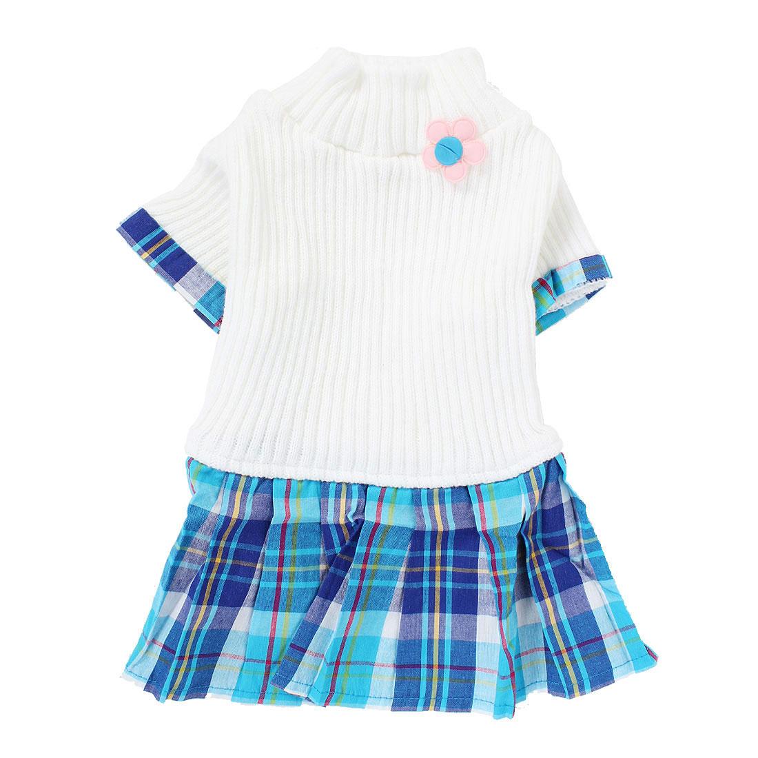 Pet Dog Warm Knitwear Sweater Plaid Pattern Dress Skirt Apparel White M