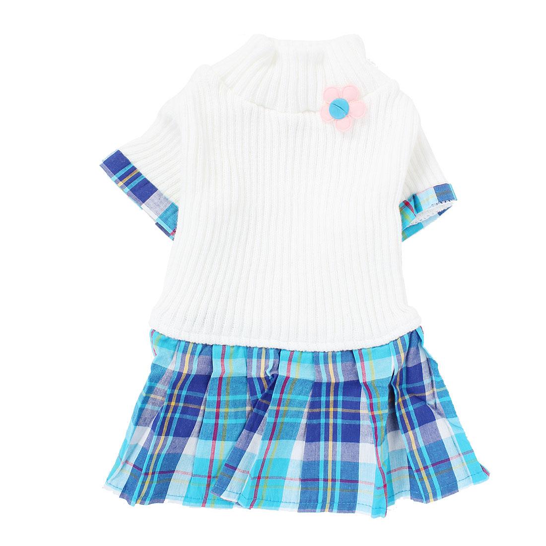 Pet Dog Warm Knitwear Sweater Plaid Pattern Dress Skirt Apparel White S