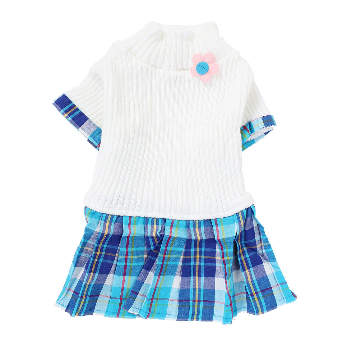Pet Dog Warm Knitwear Sweater Plaid Pattern Dress Skirt Apparel White XS