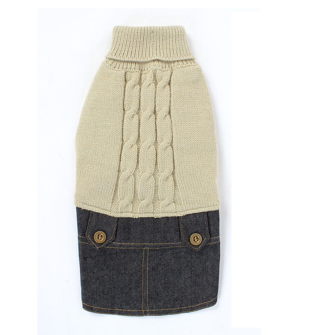 Pet Dog Winter Warm Sweater Knitwear Denim Dress Jeans Skirt Apparel Beige M
