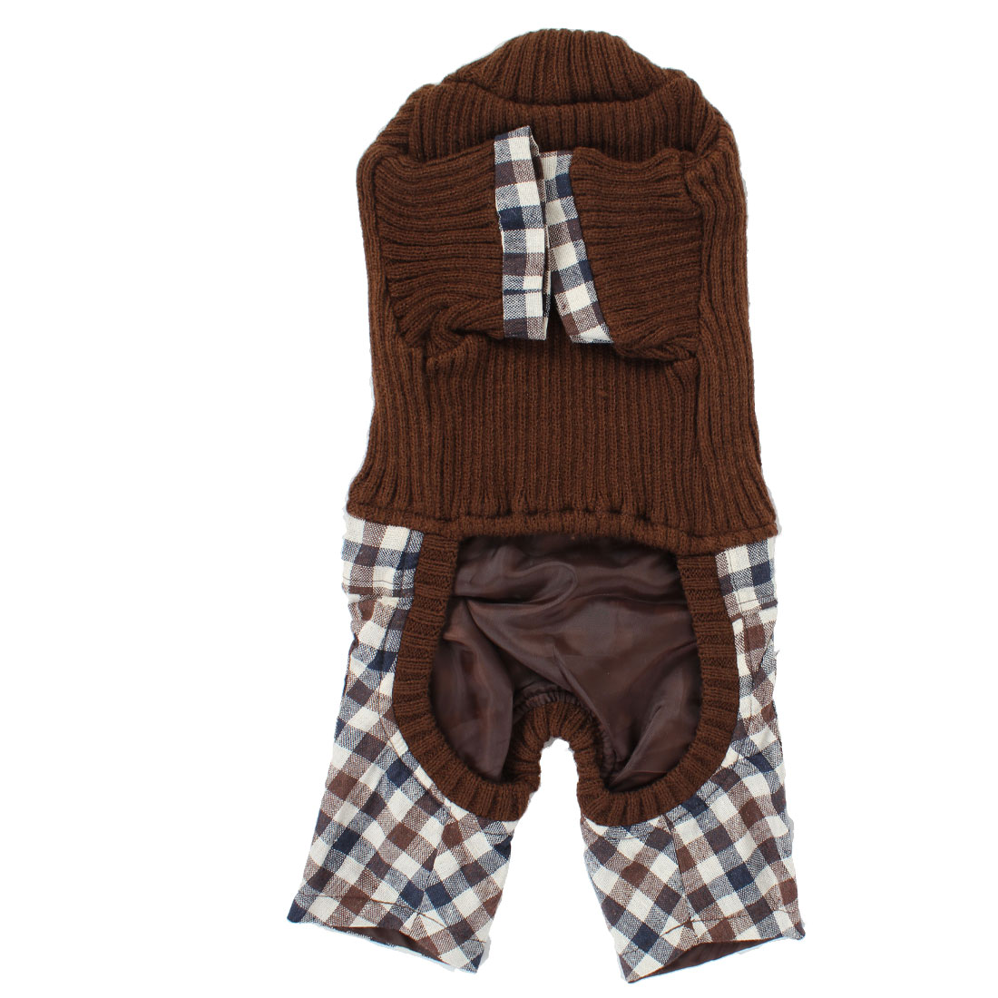 Pet Dog Winter Warm Turtleneck Sweater Plaid Pattern Pants Rompers Coffee Color S