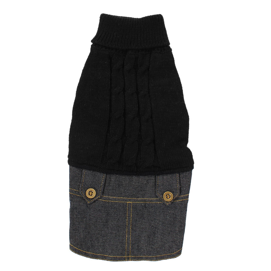 Pet Dog Winter Warm Sweater Denim Dress Jeans Skirt Clothes Apparel Black S