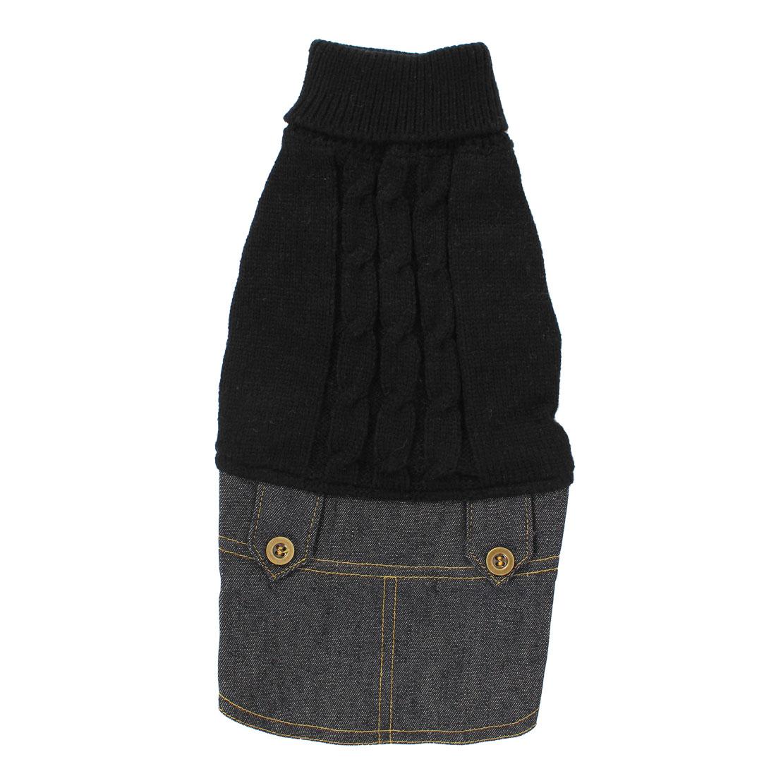 Pet Dog Winter Warm Sweater Denim Dress Jeans Skirt Clothes Apparel Black M