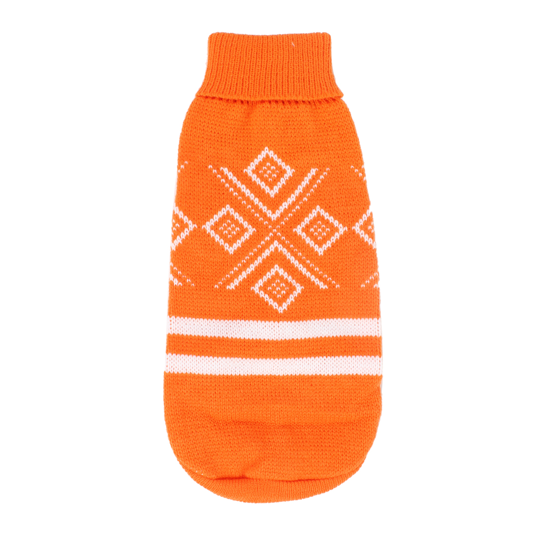 Pet Dog Rhombus Pattern Turtleneck Warm Clothes Knitwear Sweater Orange Size L