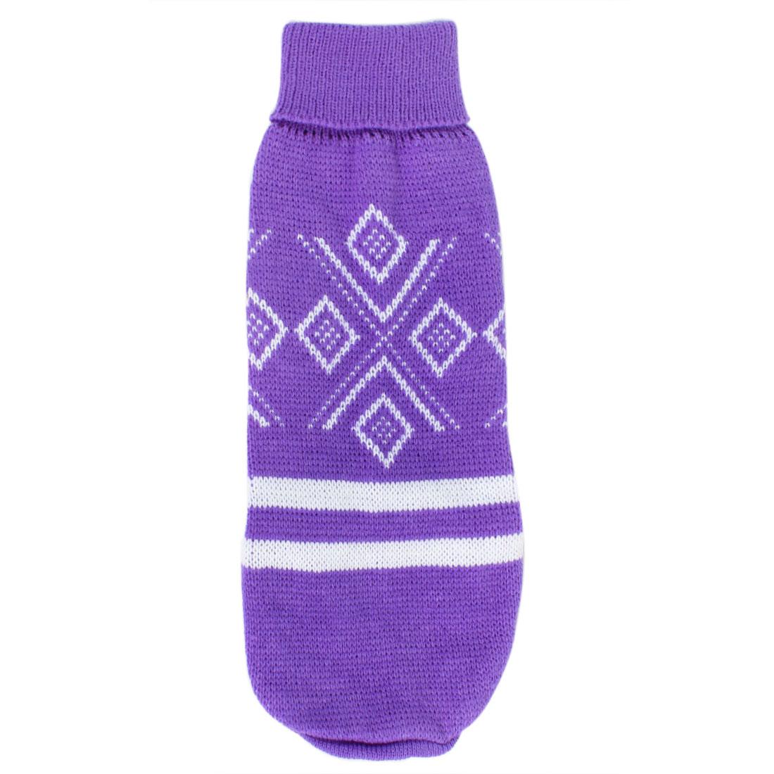 Pet Puppy Rhombus Pattern Turtleneck Warm Apparel Knitwear Sweater Purple Size M
