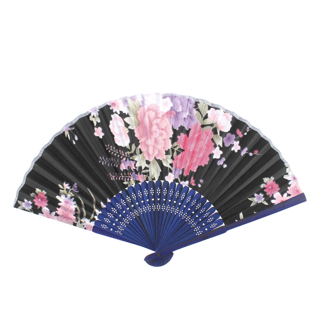 Wooden Frame Chrysanthemum Pattern Handheld Folding Hand Fan 21cm Length Black