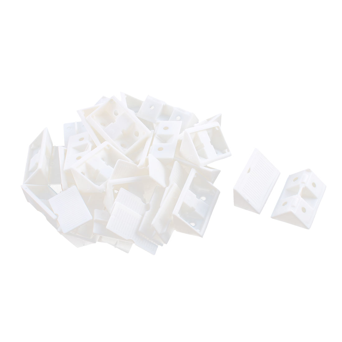 Furniture Cabinet Plastic Corner Bracket Angle Brace 42mm x 20mm x 20mm White 20 Set