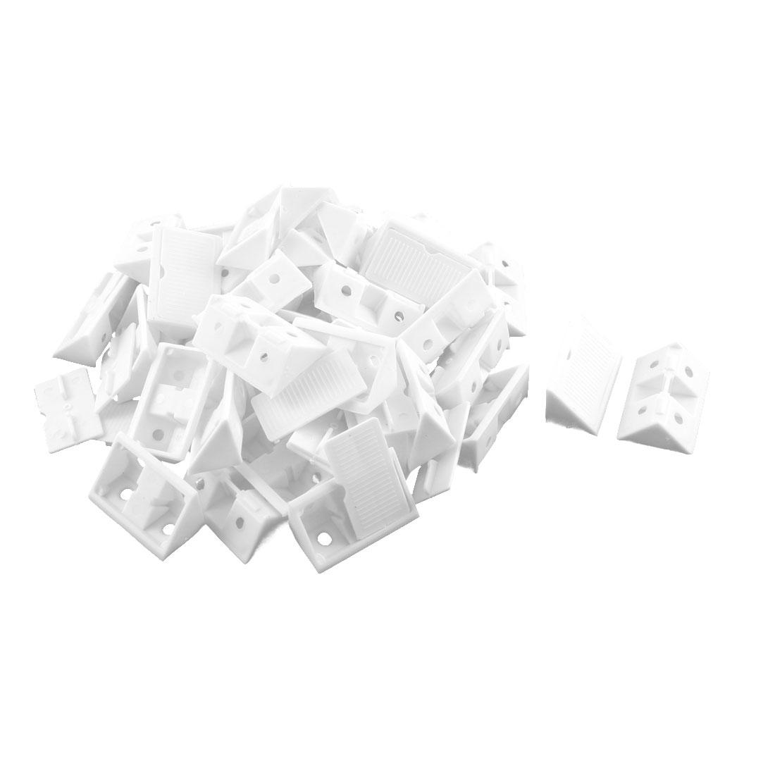 Furniture Cabinet Plastic Corner Bracket Angle Brace 42mm x 20mm x 20mm White 36 Set