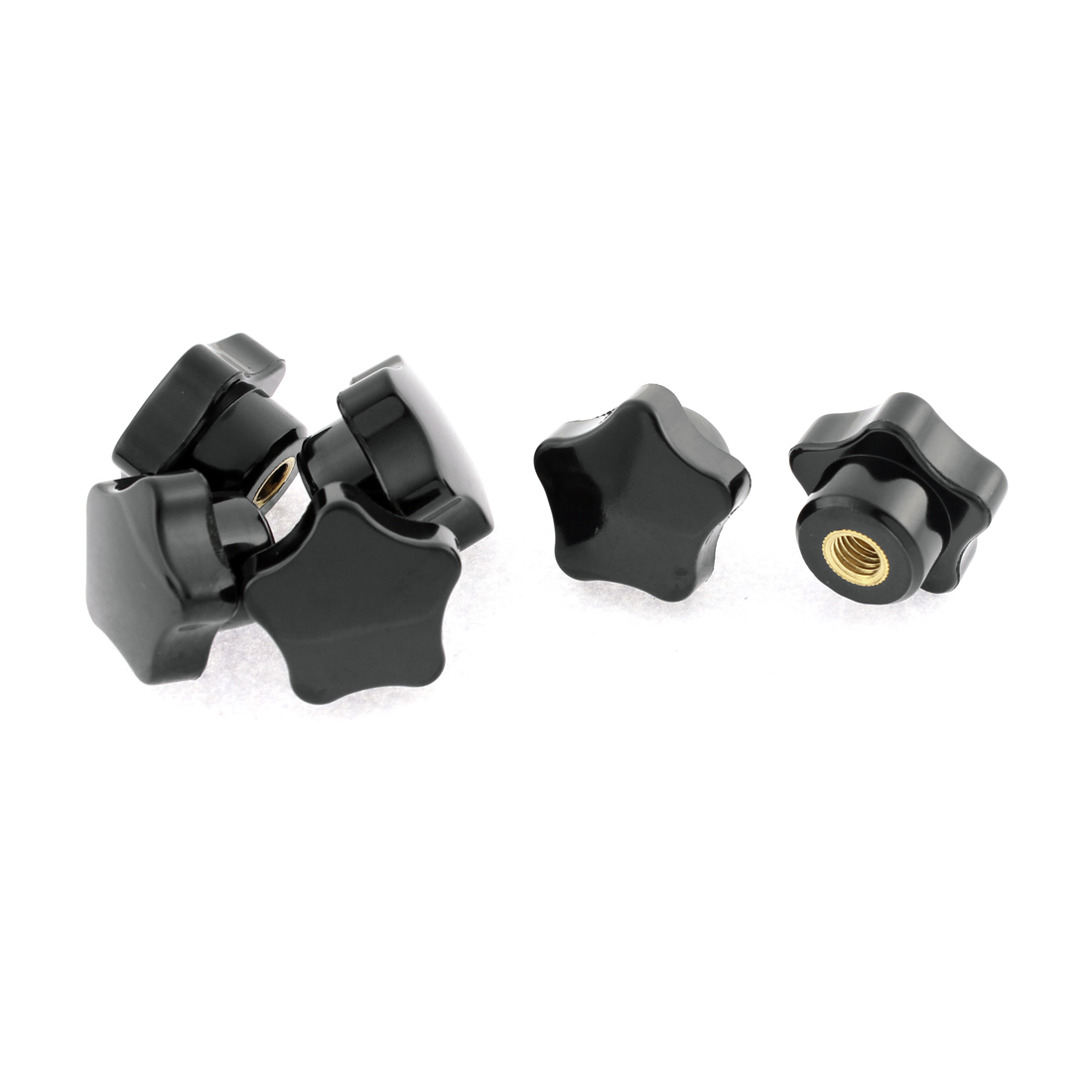 Plastic Star Head M6 x 32mm Female Thread Clamping Knob Black 6 Pcs