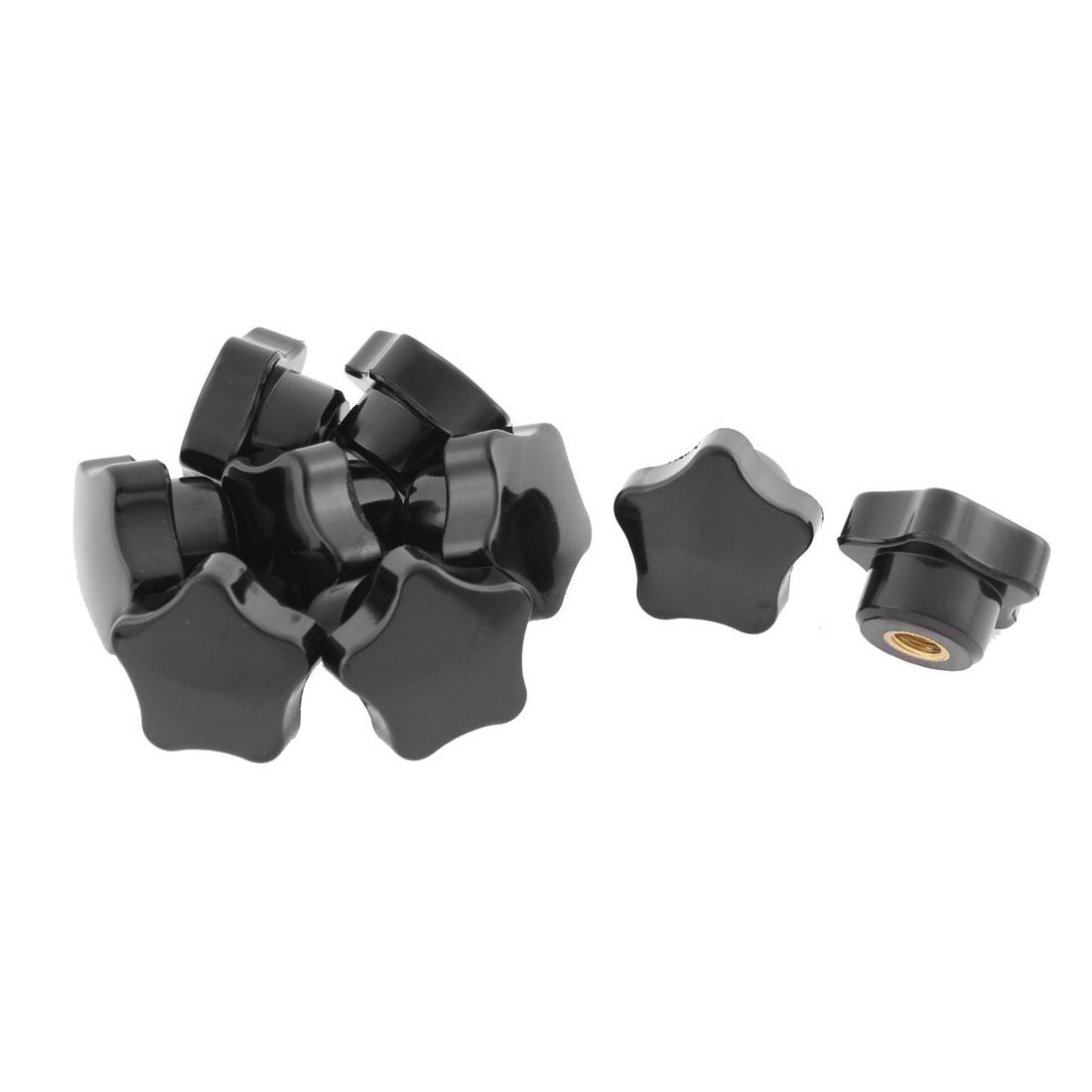 Plastic Star Head M6 x 32mm Female Thread Clamping Knob Black 9 Pcs