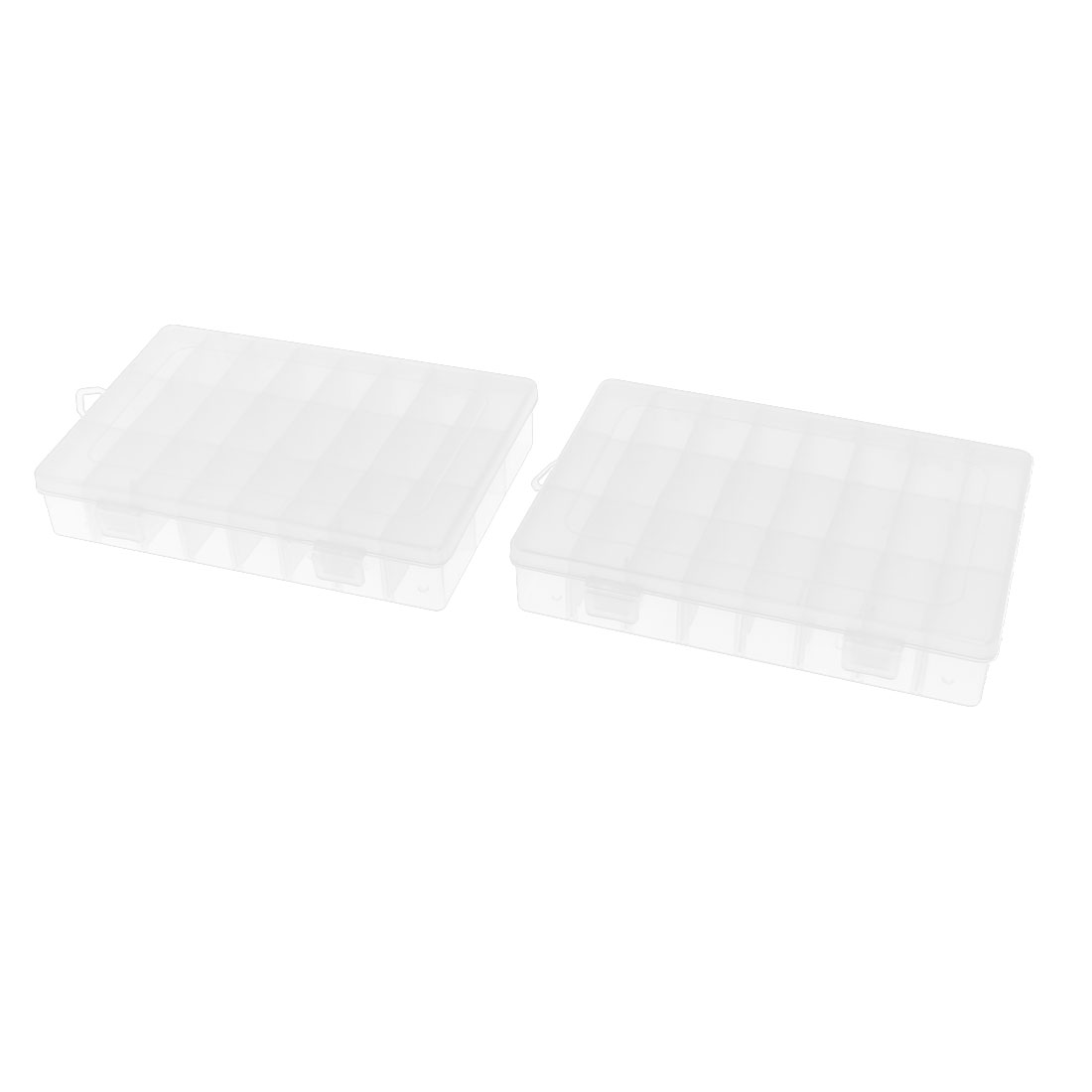 Plastic 24 Separable Compartments Electronic Components Storage Box 2pcs