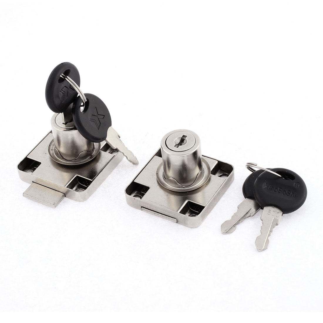 2 Pcs 4cm x 4cm Cabinet Drawer Single Door Cylinder Tubular Head Security Lock w Keys