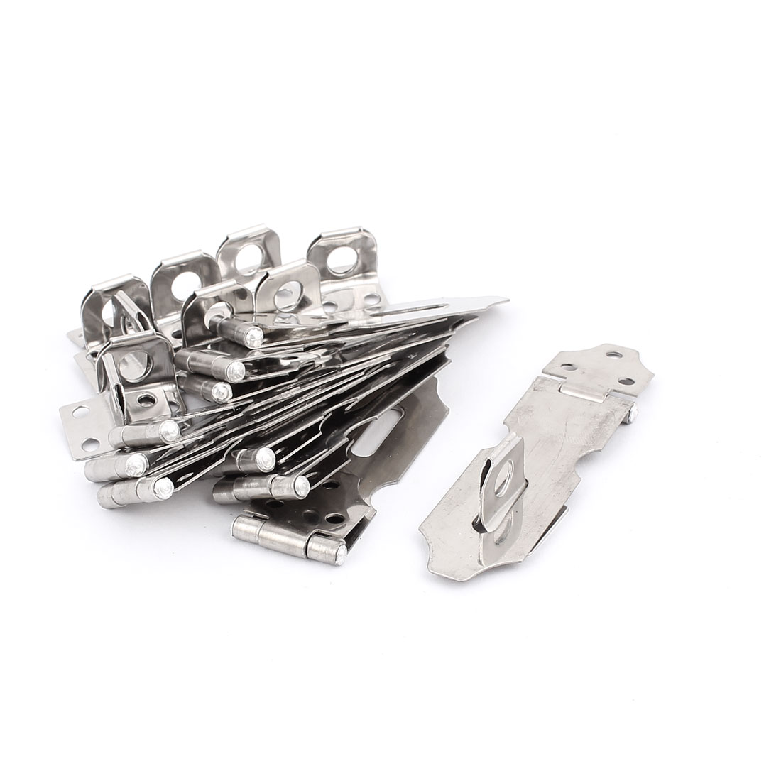 Door Cupboard Cabinet Stainless Steel Hasp Staple Strap Lock 10pcs