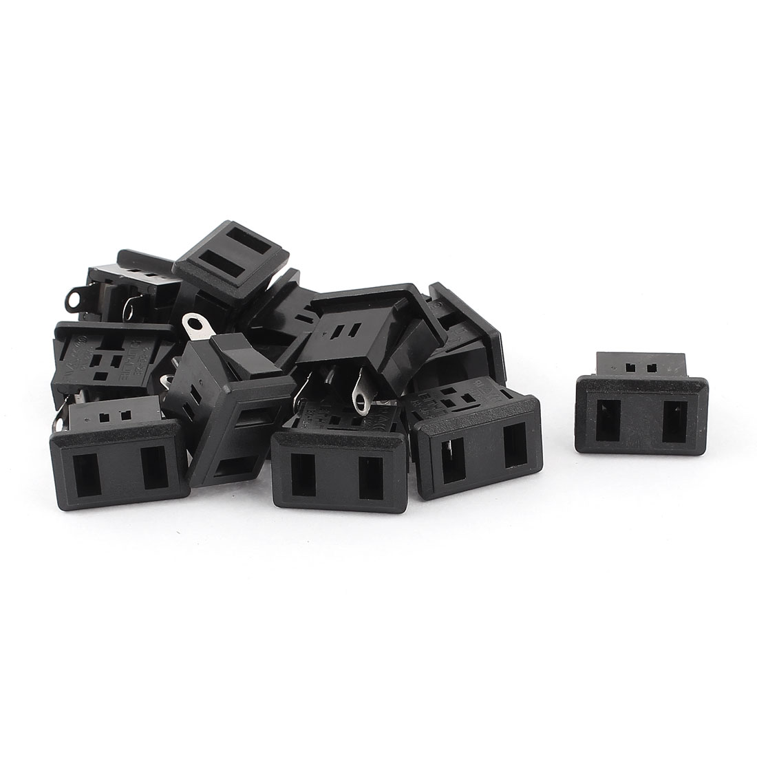 12 Pcs US Plug 2 Terminals Power Socket Black AC 125V 12A