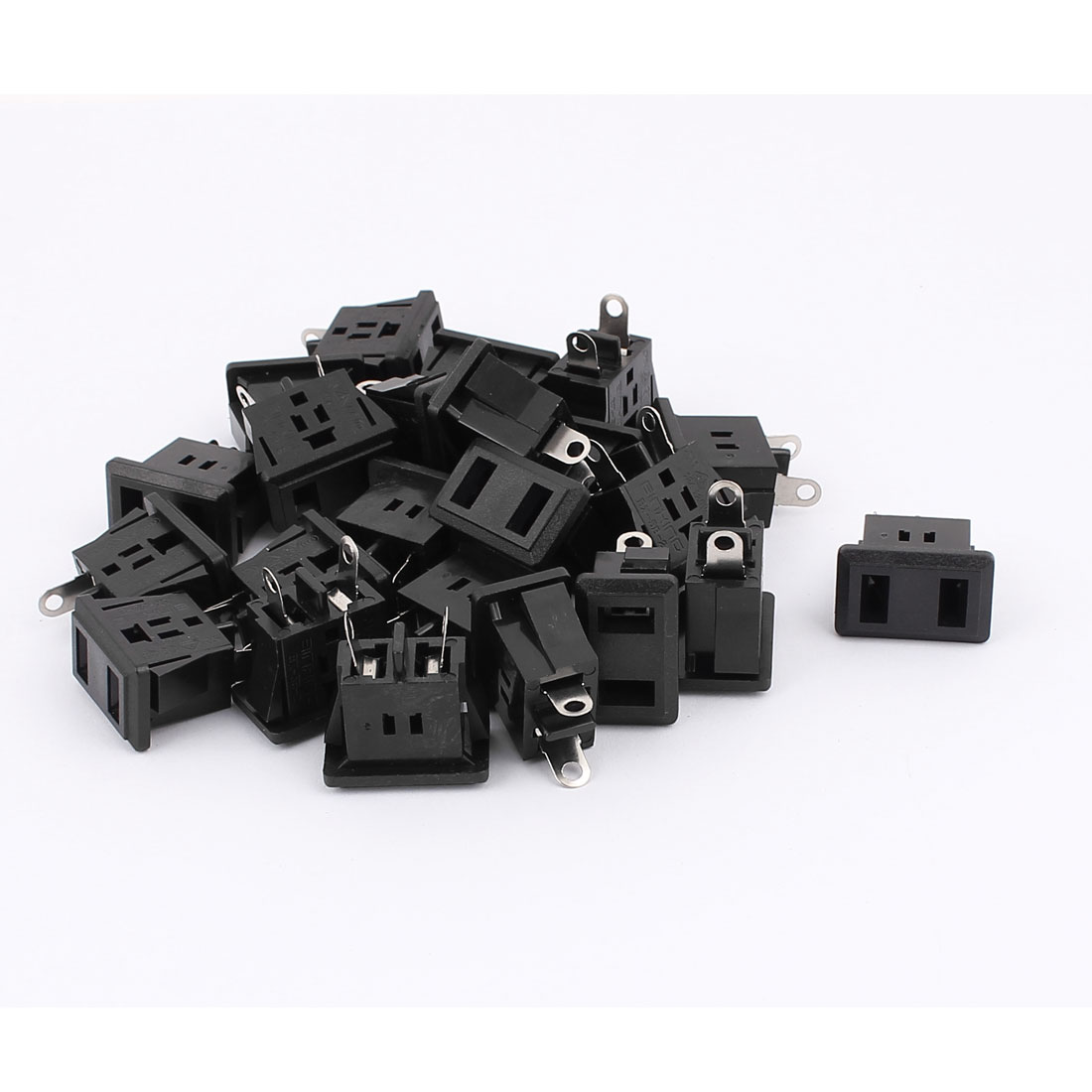 AC 125V 12A US Type Panel Mounting Power Socket Outlet Black