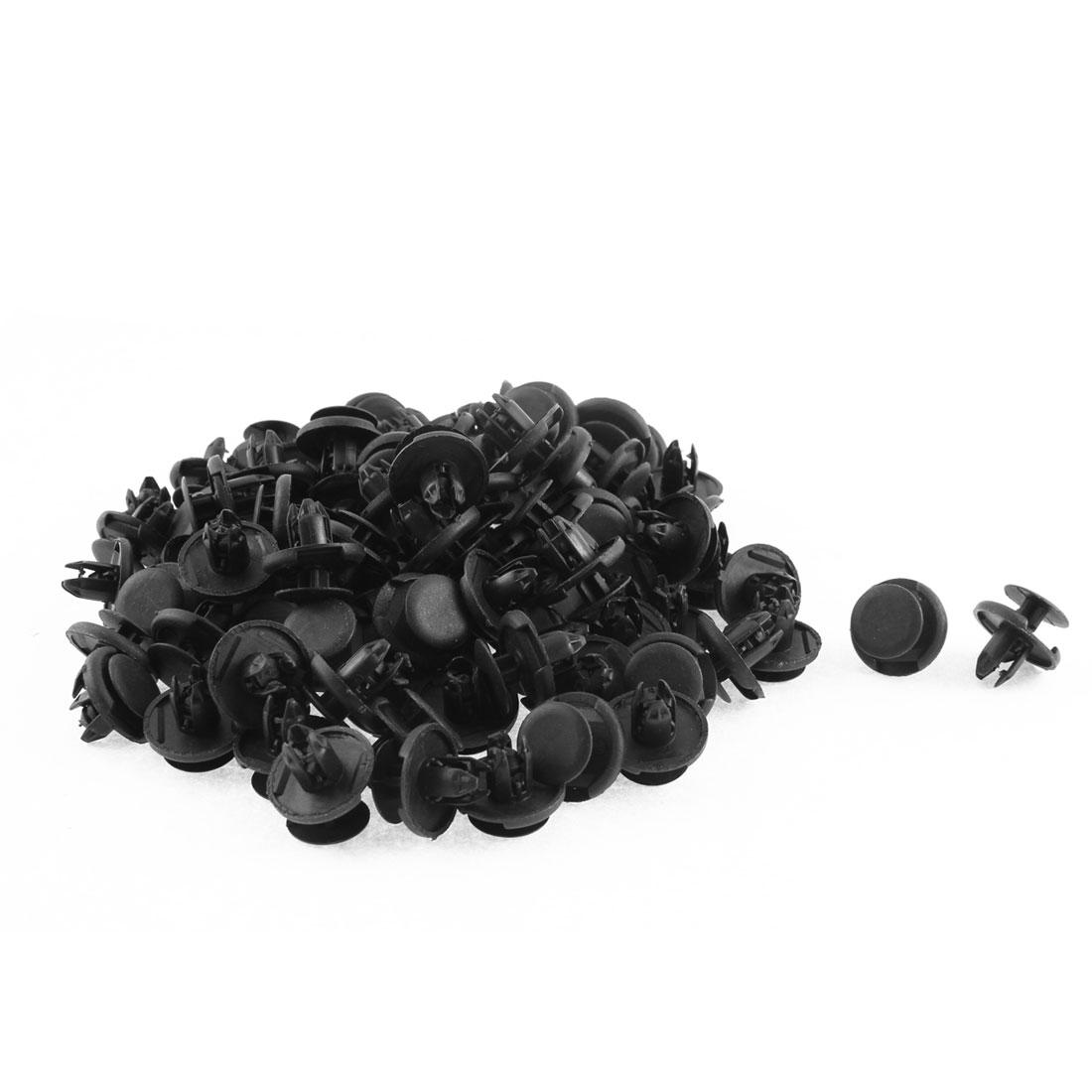 100 Pcs 20mm x 8mm Black Plastic Push-Type Rivets Fastener Fender Clips