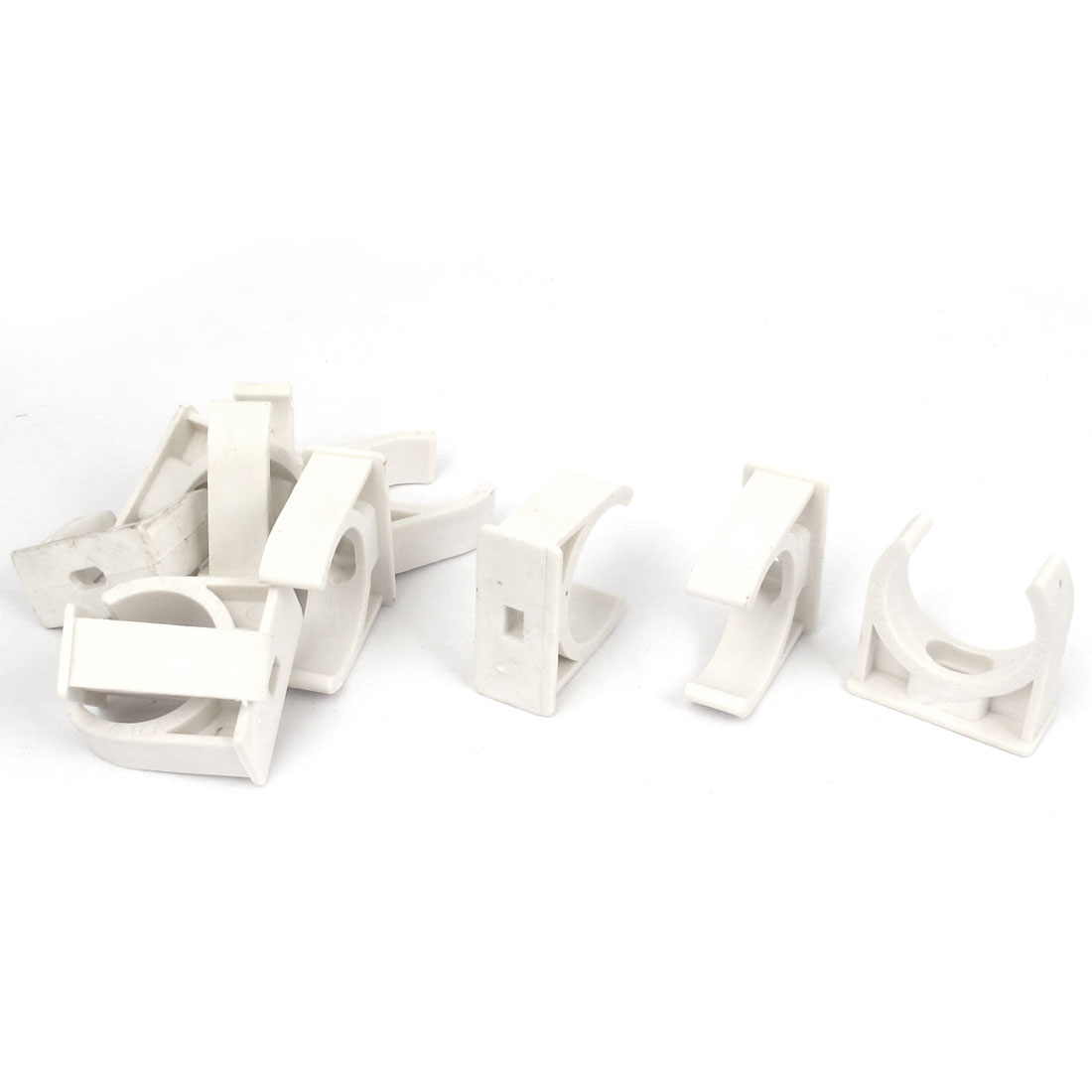 10pcs 32mm Dia White Water Supply Pipe Tubing Hose Clamps Clips Fittings