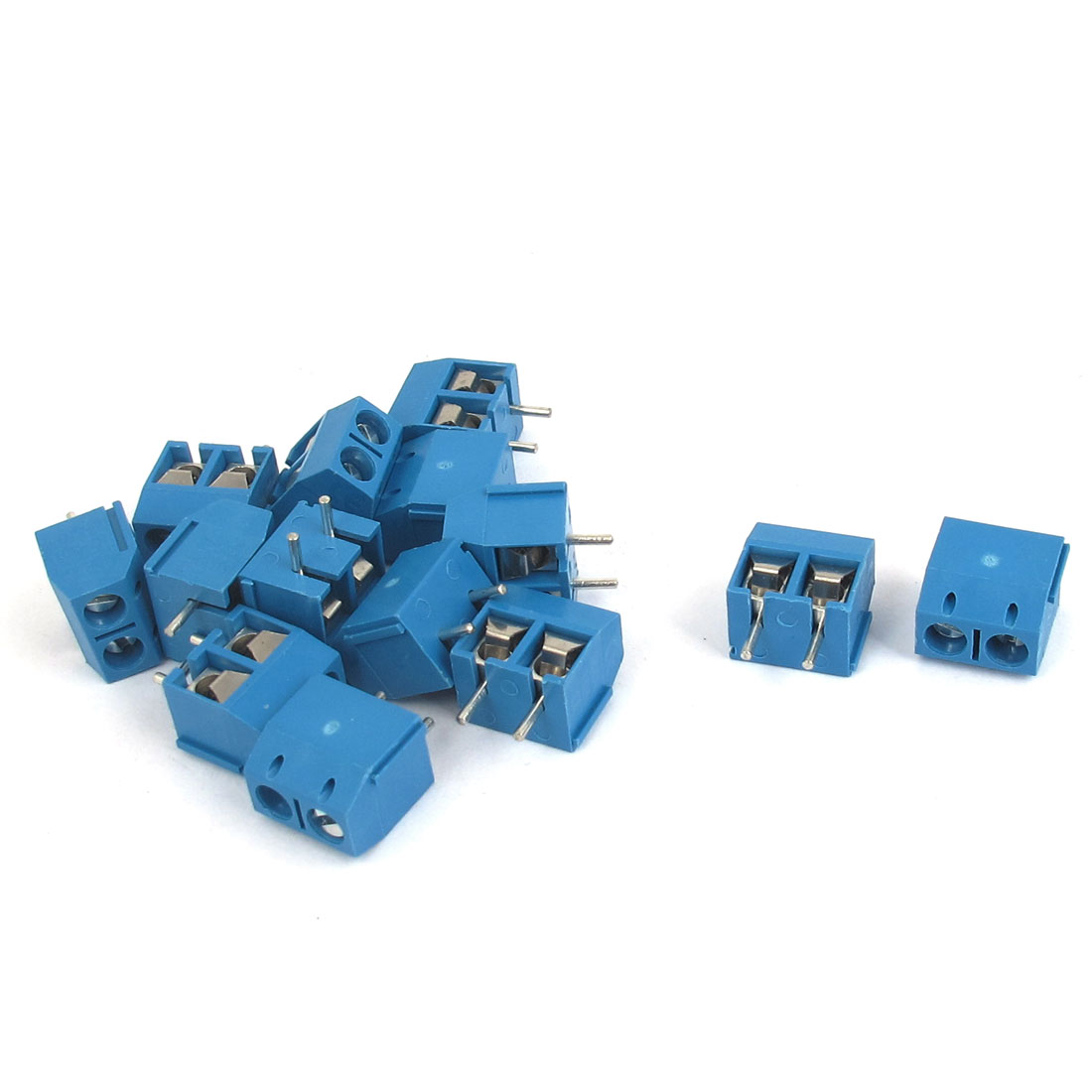 2P 5mm Pitch PCB Mounting Screw Terminal Block Connector AC 300V 10A 14pcs