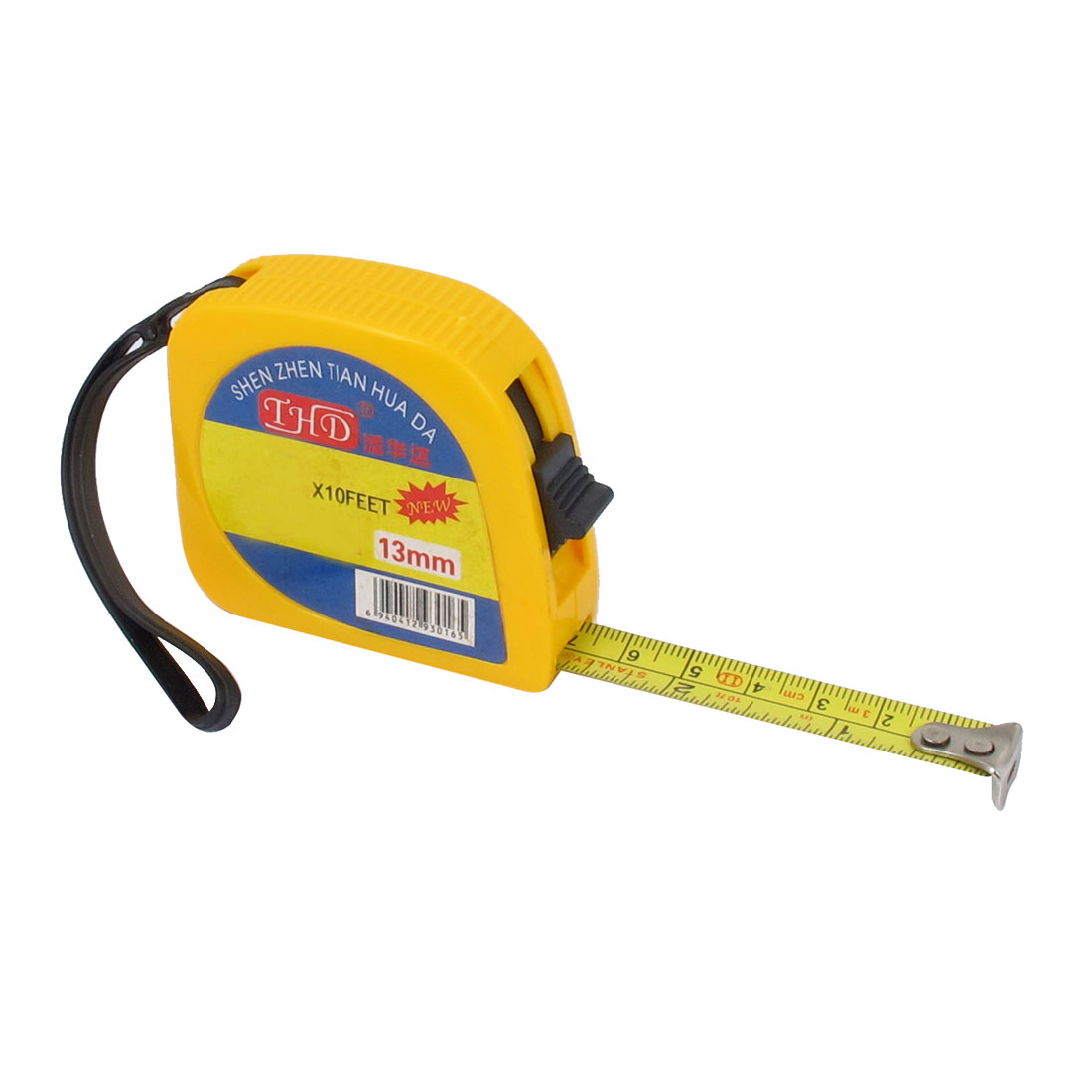 Yellow Plastic Shell Retractable Tapeline Ruler Measuring Tape Measure Tool 3meter/10Ft/120Inch