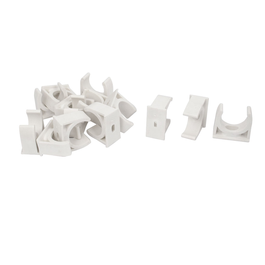 14pcs 25mm Diameter White PVC Water Tube Pipe Hose Fitting Clamps Snap in Type Clips