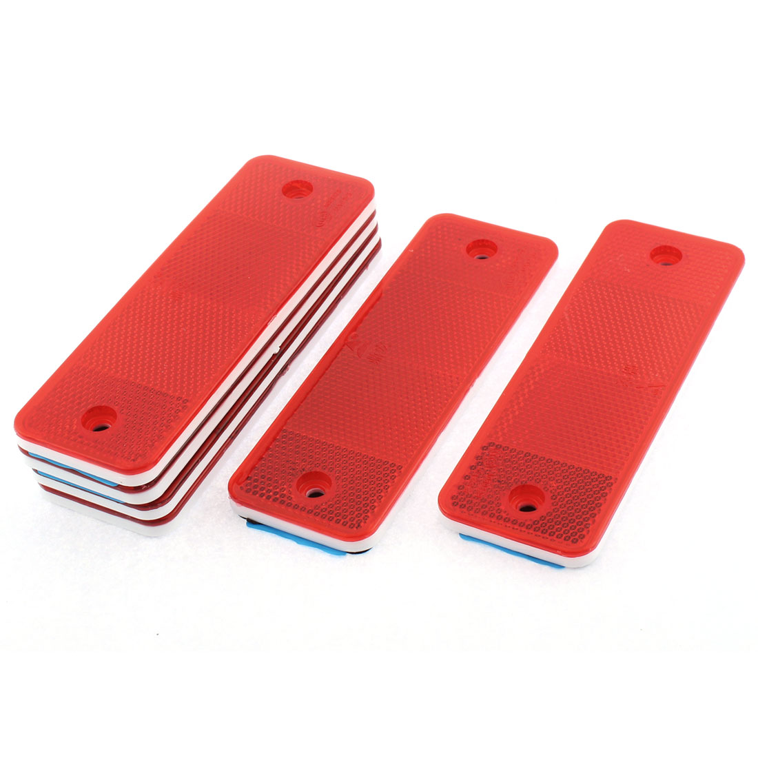 6 Pcs Red Plastic Reflective Warning Plate Stickers For Car Safety